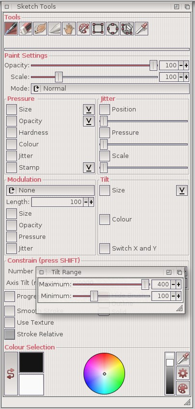 SketchBlock Tools Window with Tilt settings